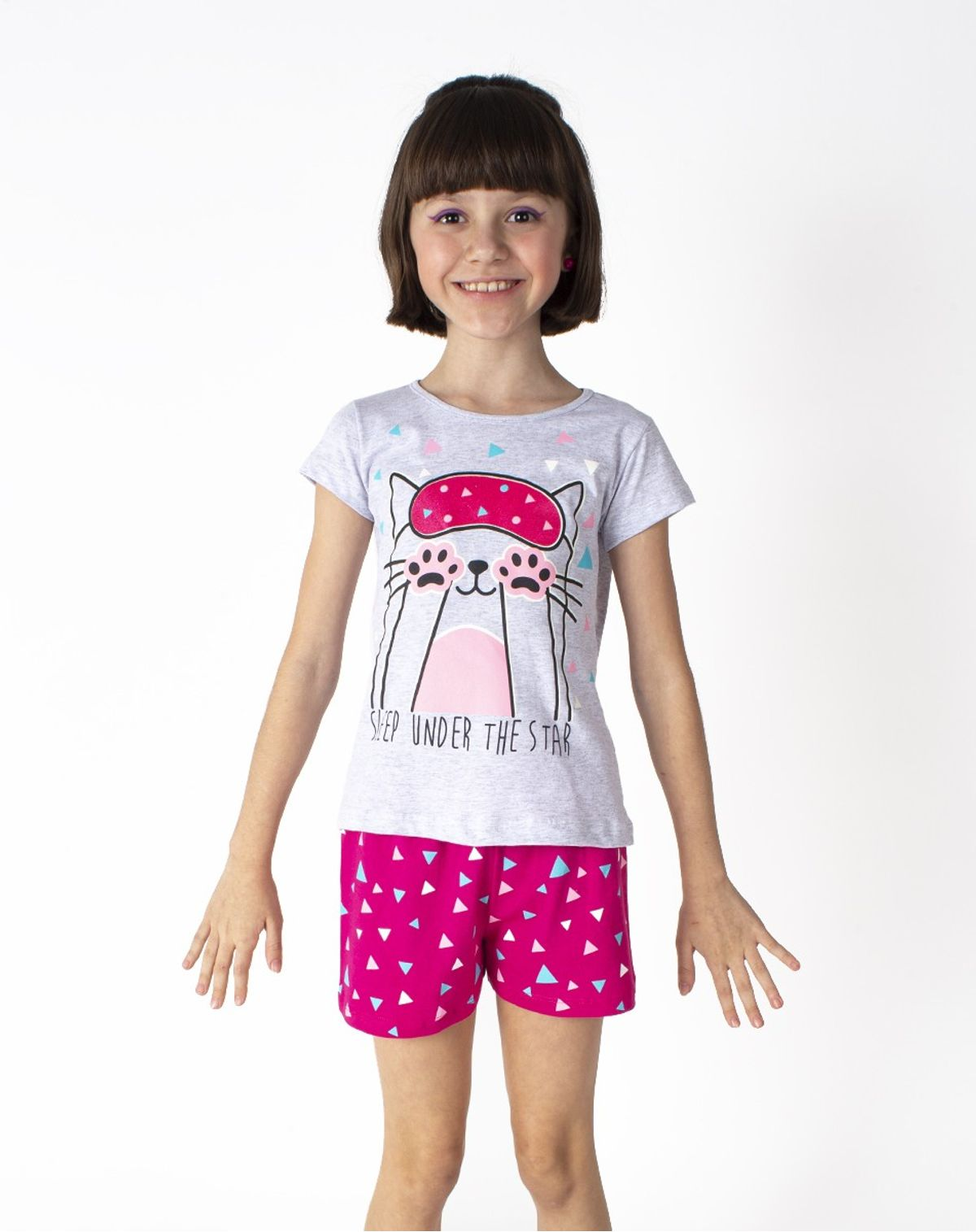 2050005788784-Pijama-Curto-Infantil-Menina-Estampa-Gatinho-Brilha-no-Escuro-MESCLA-CLARO-4-1